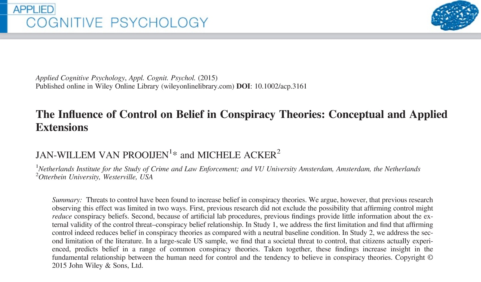 buffering conspiracy theories feelings of control the  control paper